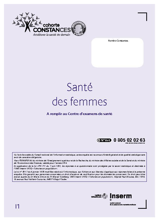 Base documentaire l 39 espace scientifique cohorte constances - Questionnaire de sante assurance ...